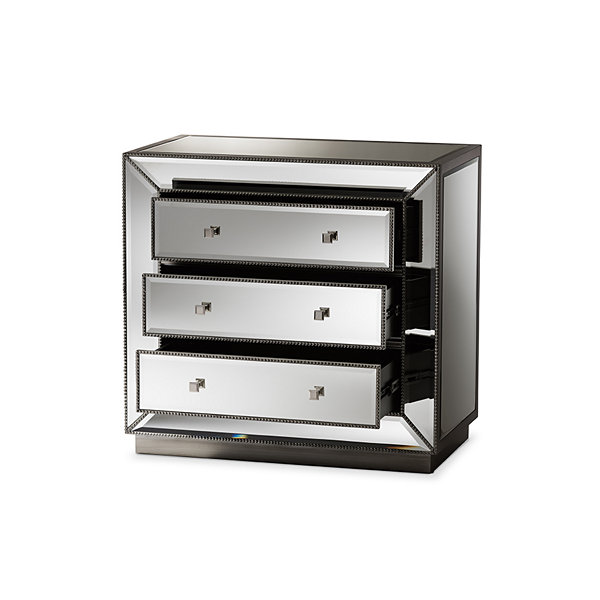 Baxton Studio Edeline Hollywood Regency Glamour Style Mirrored 3-Drawer Chest