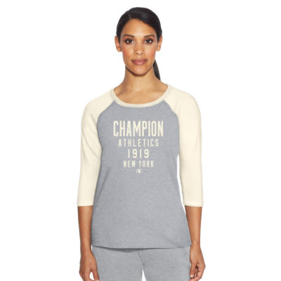 Champion 3/4 Sleeve Crew Neck T-Shirt-Womens