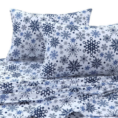 Tribeca Living Snow flakes Printed Flannel 170-GSM Solid Extra Deep Pocket Sheet Set