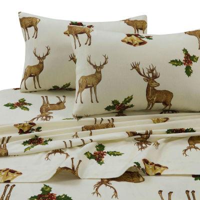 Tribeca Living Holiday Reindeer Printed Flannel 170-GSM Solid Extra Deep Pocket Sheet Set