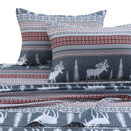 Tribeca Living Winter Reindeer Printed Flannel 170-GSM Solid Extra Deep Pocket Sheet Set