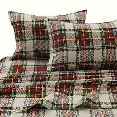 Tribeca Living Charleston Plaid Printed Flannel 170-GSM Solid Extra Deep Pocket Sheet Set
