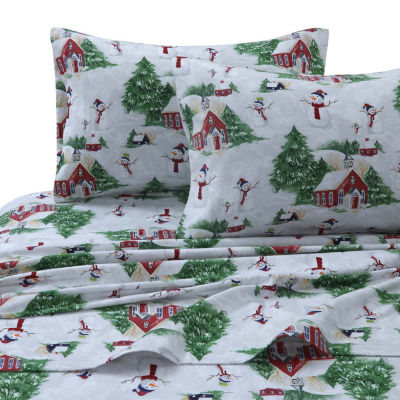 Tribeca Living Snowman Printed Flannel 170-GSM Printed Extra Deep Pocket Sheet Set