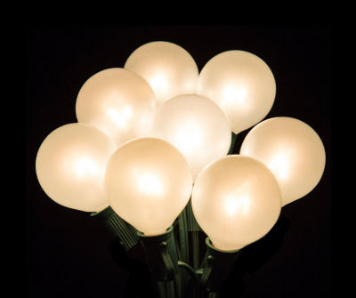 Set of 20 Clear White Opaque G50 Globe Party Wedding Christmas Lights with Green Wire