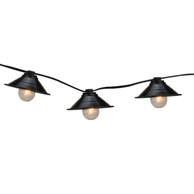 Set Of 10 Black Metal Pendant Lantern Patio Lights with Black Wire