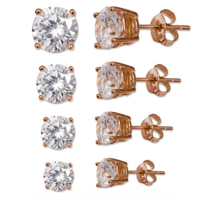 Silver Treasures Silver Treasures 14K Rose Gold Over Silver Round Stud Earrings