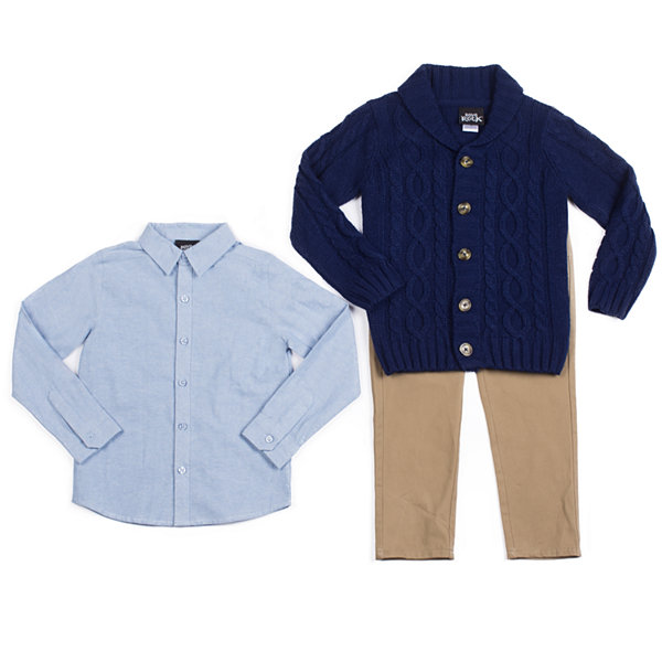 Little Lass 3-pc. Cardigan Pant Set Baby Boys