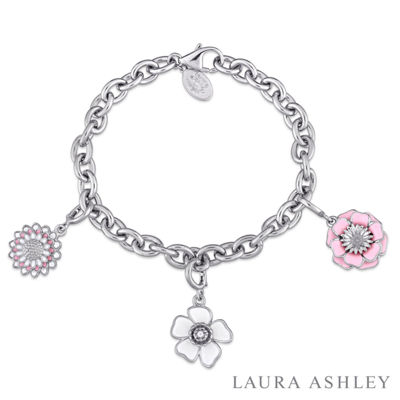 Laura Ashley Flower Collection Womens 3-pc. Sterling Silver Bracelet Set