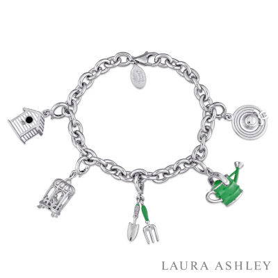 Laura Ashley Flower Collection Womens 5-pc. White Sapphire Sterling Silver Bracelet Set