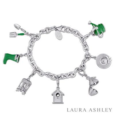 Laura Ashley Secret Garden Collection Womens 7-pc. White Sapphire Sterling Silver Bracelet Set