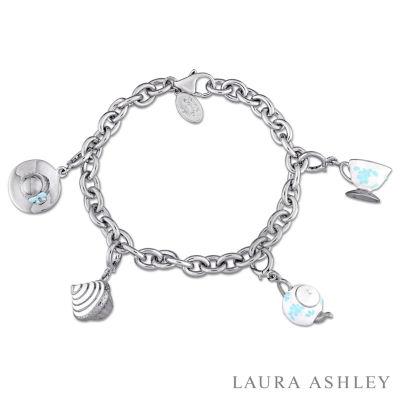 Laura Ashley Tea Party Collection Womens 4-pc. White Sapphire Sterling Silver Bracelet Set