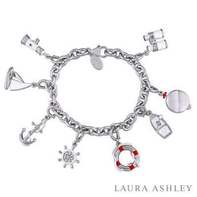 Laura Ashley Nautical Collection Womens 8-pc. White Sapphire Sterling Silver Bracelet Set
