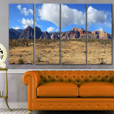 Red Rock Canyon Landscape Landscape Canvas Art Print - 4 Panels
