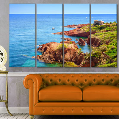 Esterel Rocks Beach Coast Landscape Canvas Art Print - 4 Panels