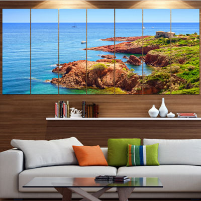 Designart Esterel Rocks Beach Coast Landscape Canvas Art Print - 4 Panels
