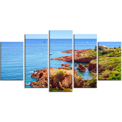 Designart Esterel Rocks Beach Coast Landscape Large Canvas Art Print - 5 Panels