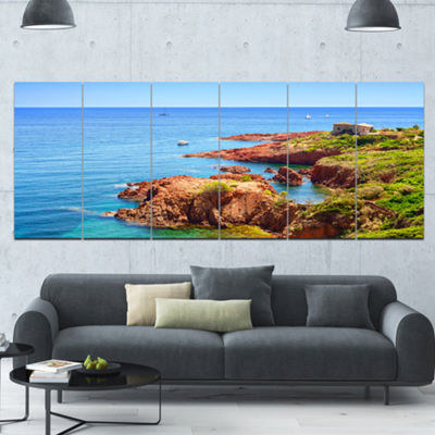 Designart Esterel Rocks Beach Coast Landscape Canvas Art Print - 6 Panels