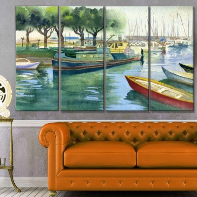 Design Art Boats In River Watercolor Landscape Canvas Art Print - 4 Panels