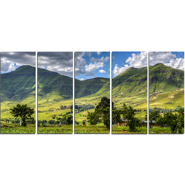 Designart Lesotho Mountains Panorama Landscape Canvas Art Print - 5 Panels
