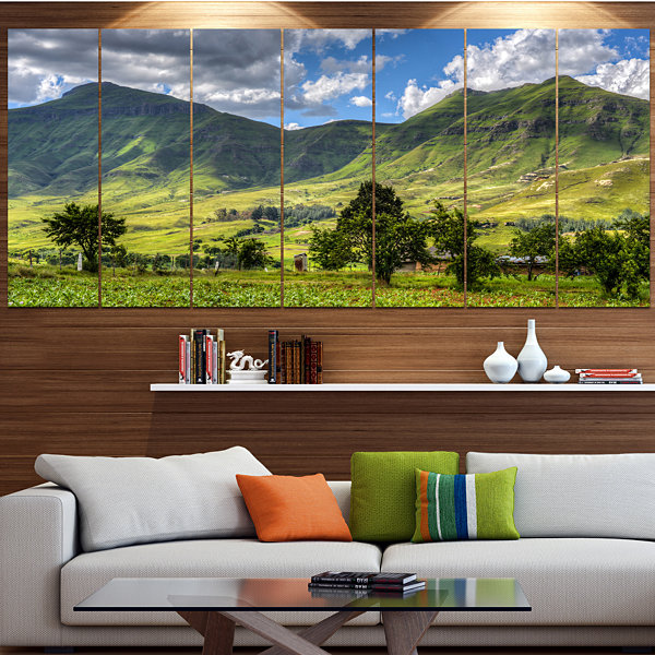 Designart Lesotho Mountains Panorama Landscape Canvas Art Print - 6 Panels