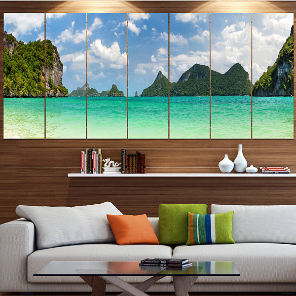 Design Art Thailand Beach Panorama Landscape LargeCanvas Art Print - 5 Panels