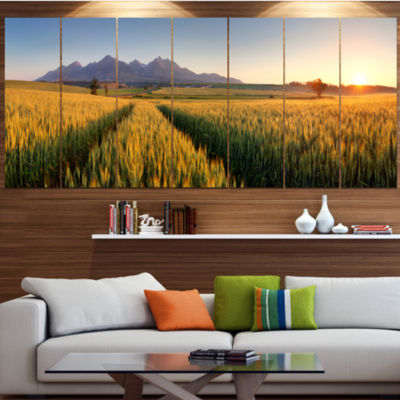 Designart Path In The Wheat Field Landscape CanvasArt Print- 6 Panels