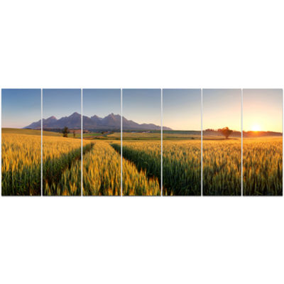 Designart Path In The Wheat Field Landscape CanvasArt Print- 7 Panels