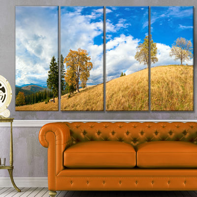 Designart Mountain Autumn Panorama Landscape Canvas Art Print - 4 Panels
