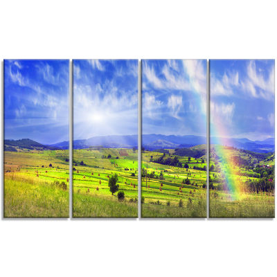 Stacks In Carpathian Mountains Landscape Canvas Art Print - 4 Panels