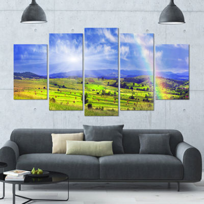 Designart Stacks In Carpathian Mountains LandscapeLarge Canvas Art Print - 5 Panels