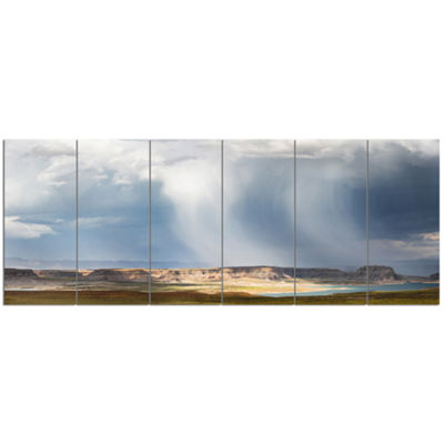 Designart Lake Powell Under Clouds Landscape Canvas Art Print - 6 Panels