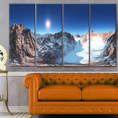 Designart Panorama Of Rocky Mountains Landscape Canvas Art Print - 4 Panels