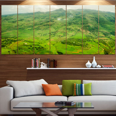 Designart Highlands Around Addis Ababa LandscapeCanvas Art Print - 7 Panels