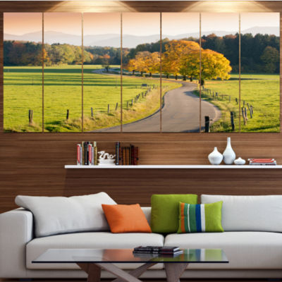 Designart Winding Country Road In The Fall Landscape Large Canvas Art Print - 5 Panels