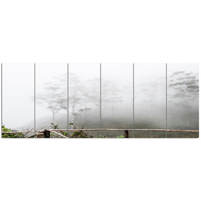Designart Fogs On Western Ghats Hills Landscape Canvas Art Print - 6 Panels