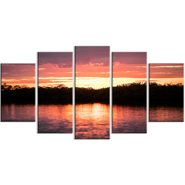 Design Art Sunset On Tropical Lagoon Landscape Large Canvas Art Print - 5 Panels