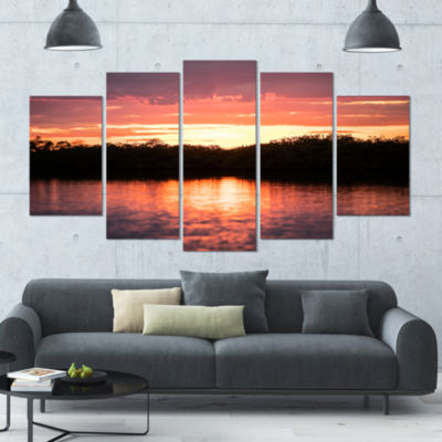 Sunset On Tropical Lagoon Landscape Large Canvas Art Print - 5 Panels