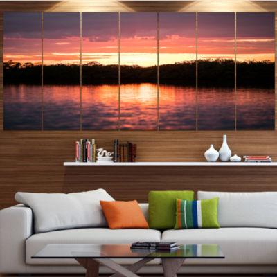 Design Art Sunset On Tropical Lagoon Landscape Canvas Art Print - 5 Panels