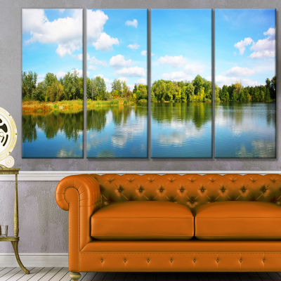Spring Lake Panorama Landscape Canvas Art Print -4 Panels