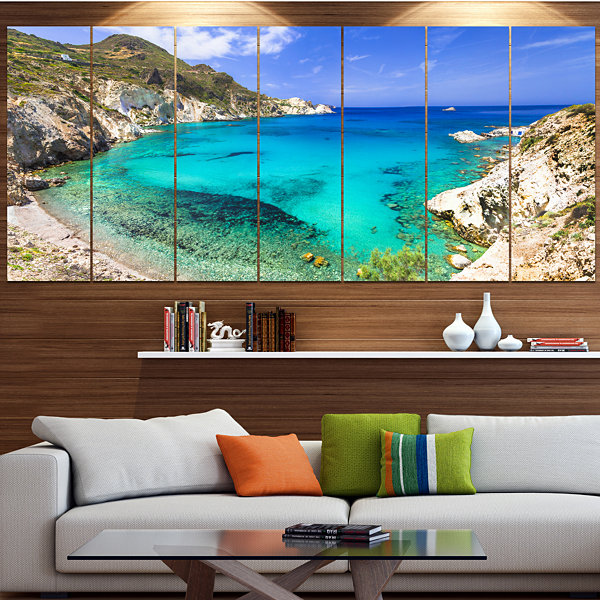 Designart Greece Beaches Of Milos Island LandscapeCanvas Art Print - 4 Panels
