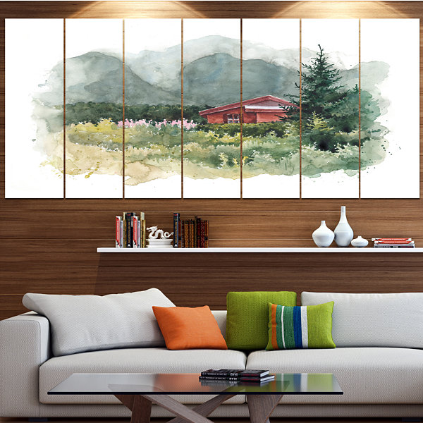 Designart Watercolor House Aad Mountains LandscapeCanvas Art Print - 6 Panels