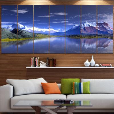 Designart 3D Rendered Mountains And Lake LandscapeCanvas Art Print - 4 Panels