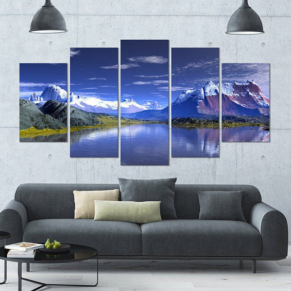 Design Art 3D Rendered Mountains And Lake Landscape Large Canvas Art Print - 5 Panels