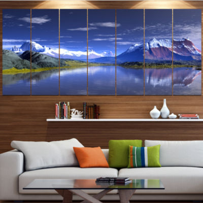 3D Rendered Mountains And Lake Landscape Canvas Art Print - 7 Panels