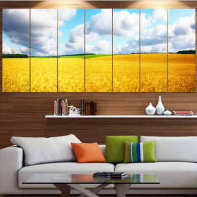 Design Art Beautiful Field Panorama Landscape Canvas Art Print - 4 Panels