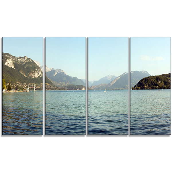 Design Art Annecy Lake France Panorama Landscape Canvas Art Print - 4 Panels