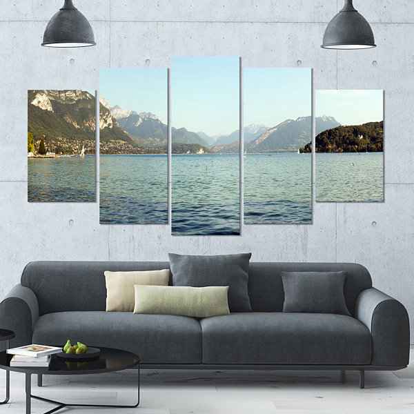 Design Art Annecy Lake France Panorama Landscape Large Canvas Art Print - 5 Panels