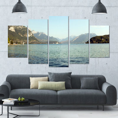Designart Annecy Lake France Panorama Landscape Large Canvas Art Print - 5 Panels