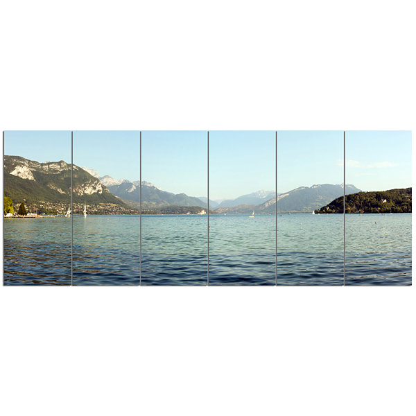 Designart Annecy Lake France Panorama Landscape Canvas Art Print - 6 Panels