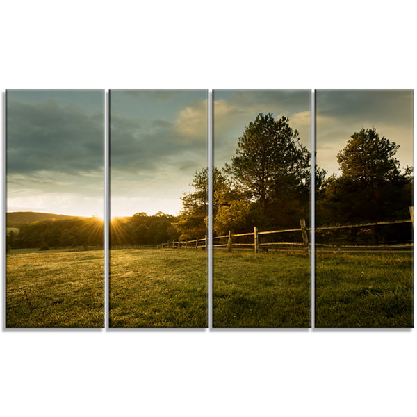 Designart Beautiful Sunrise In The Farm LandscapeCanvas Art Print - 4 Panels